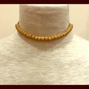 Jewelry - Glass bead and leather necklace.